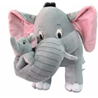 Tickles Grey Mother Elephant with Baby Stuffed Soft Toy - 32 cm