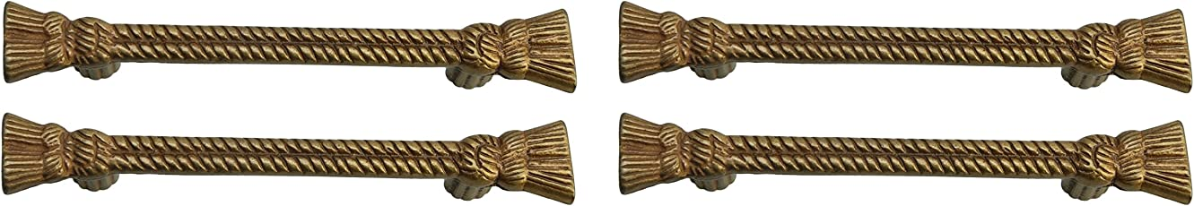 Meraki Cast Iron Rope Handle (Brass and Antique, Pack of 4)