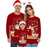 Suéter de Navidad Familia Pullover de Punto Jerséis para Mujer Hombre Niño NiñaInvierno Manga Larga Jersey Navideño Blusas Ab