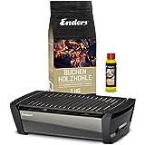 Enders Aurora – Tischgrill Starter-Set, Raucharmer Outdoor Grilltisch mit Holzkohle und Anzündpaste, Mobiler Holzkohle…