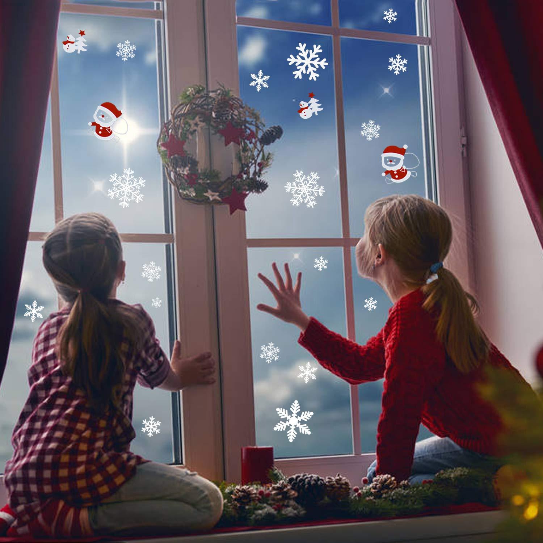 Luter vetrofanie natale fiocchi neve adesivi addobbi - Adesivi finestre natale ...