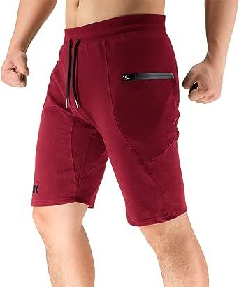 BROKIG Men's Casual Gym Shorts, Running Training Sport Shorts with Zip Pockets (Medium, Black)