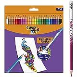 BIC Kids Evolution Illusion Lot de 24 crayons de couleur effaçables
