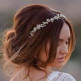 Ushiny - Cerchietto per capelli con fiore e strass dorati, accessorio per capelli da sposa per donne e ragazze