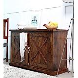 Shagun Arts Wooden Sideboard Cabinet for Living Room | Kitchen Storage Side Board with 2 Door Cabinet | Sheesham Wood, Brown
