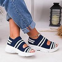 DZQQ Femmes Sandales Femme Chaussures Tissu Extensible sans Lacet Peep Toe compensées Chaussures été Plate-Forme…