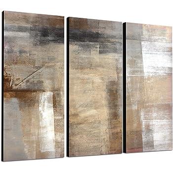 Abstraktes wandbild beige r tlich 3x40x90cm - Leinwand amazon ...