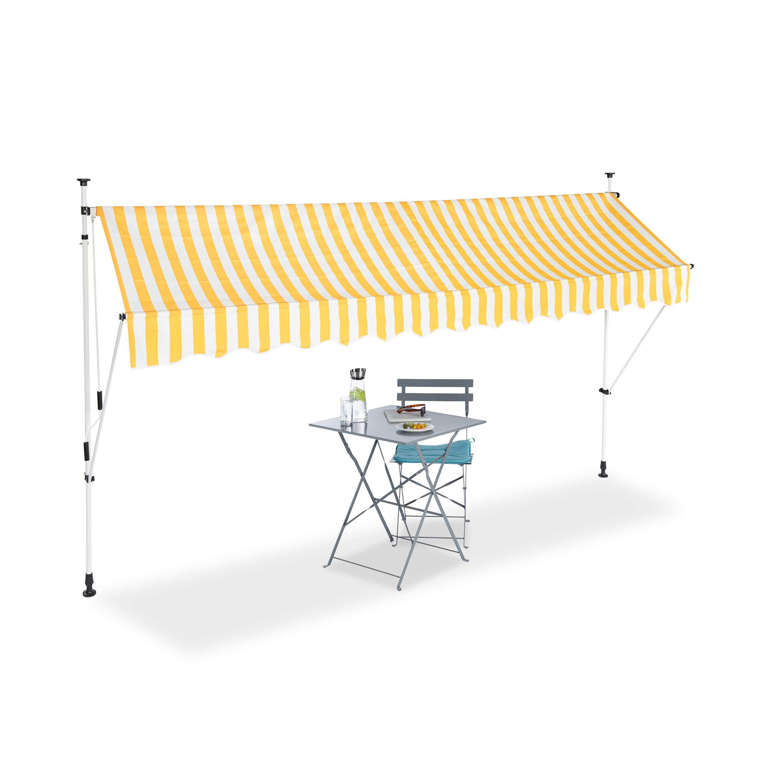 a Manovella 150 cm di Larghezza Protezione per Il Balcone Senza Forare Relaxdays Tenda da Sole Regolabile 150 x 120 cm Beige