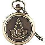 Orologio Tasca Assassin 's Creed Fantascienza Film Skull Head Retro Analog Quartz FOB Orologi Regali