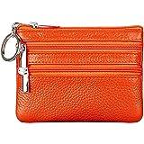 Portamonete Piccolo in Vera Pelle Mini Portafoglio con Cerniera Portachiavi per Donna (Arancio)