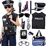 Tacobear Policía Disfraz Niño con Policía Equipo Policía Chaleco Gorra Placa Policía Esposas Gafas de Sol Walkie Talkie Polic