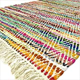 Eyes of India - 3 X 5, 4 X 6, 5 X 8 ft Noir Coloré Chindi Tissé Tapis Boho Bohème Indien - Multi, 4 X 6 ft. (120 X 180 cm)...
