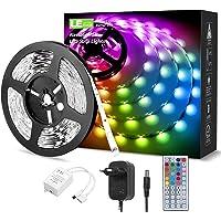 LE 5M Ruban LED 5050 RGB Multicolore Dimmable, Bande Lumineuse Découpable, 20 Couleurs 8 Modes, Contrôlé par avec Télécommande à 44 Touches, Lumières LED Décoratives pour Noël, Hôtel, Chambre, etc.