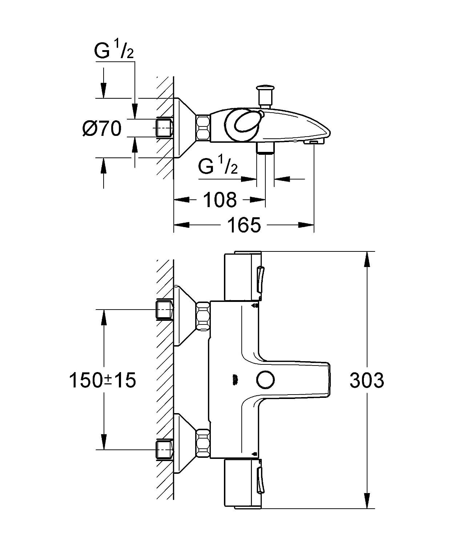 GROHE Grohtherm 1000 Thermostat-Wannenbatterie 34155000: Amazon.de ... | {Dusche maße 97}