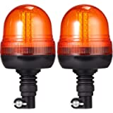 Justech 2PCs 60LEDs Amber Rotating Flash Beacon Flexible DIN Pole Mount Warning Light