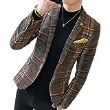 GRMO Men Fall Winter Plaid Check 1 Button Regular Fit Dress Blazer Jacket Suit Coat