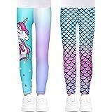 Tacobear 2-Pack Leggings Niñas con Sirena y Unicornio Motivos Pantalones Largos Elásticos Niños Leggins Ajustados Estampado p