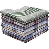 Dokpav 6 PCS Men's Handkerchiefs, Handkerchief Set, 100% Soft Cotton Hankie, Assorted Pure Cotton Handkerchiefs Men's Stripe