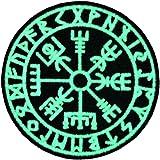 EmbTao Visione del Vichingo Bussola norrena Runa con Fissaggio Chiusura a uncino e asola Ricamata Brilla nel Buio Toppa