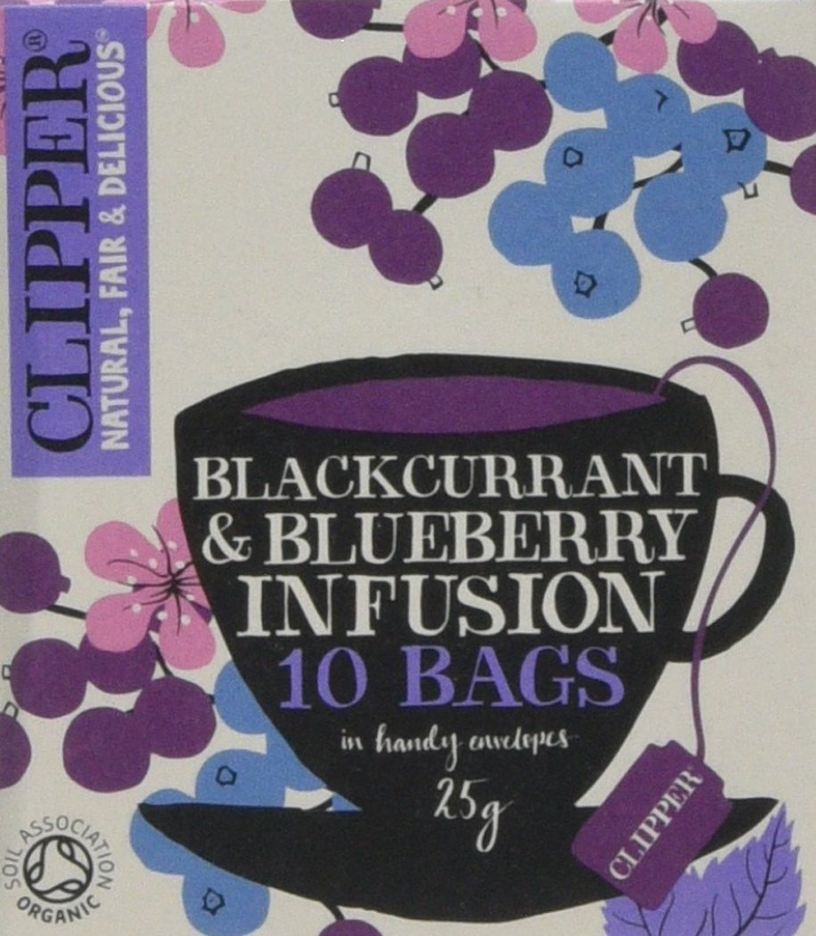 Clipper organic blackcurrant and blueberry tea bundle (soil association) (infusions) (6 packs of 10 bags) (60 bags) (a fruity tea with aromas of blackberry, blueberry) (brews in 3-5 minutes)