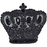 Lorigun DIY Cucito Patch Paillettes Nero Corda Corona Grande Accessori Moda per t-Shirt