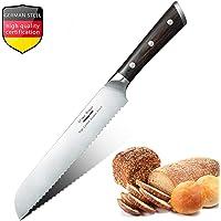 Aroma House 8 Zoll Brotmesser Wellenschliff - 20cm Profi Gezackten Brotmesser Brotsäge Küchenmesser aus Rostfreie Edelstahl -Ergonomischer Komfort Holzgriff