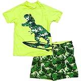 Bullahshah Conjunto de baño de Dinosaurio para niños, Estampado de Camuflaje Verde Brillante, Playa de natación, Pantalones C