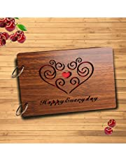 Sehaz Artworks Happy Everyday Wooden Scrapbook Photo Album for Memorable Gift on Boyfriend Girlfriend Birthdays, Valentines Day, Anniversary, for Couples (22 cm x 16 cm x 4 cm, Brown)