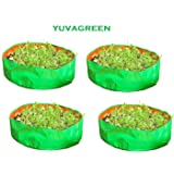 YUVAGREEN Terrace Gardening Leafy Vegetable Grow Bag, 18x8- inch (Green) - Pack of 4