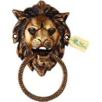 Kratidecor Lion Face Cross Ring Brass Door Knocker (C)