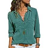 Camicia Chiffon Donna Camicette Oversize Camicie Manica Lunga Scollo V Blusa Cerimonia Signora Eleganti Camicetta Bluse Largh