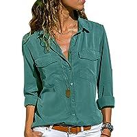 Camicia Chiffon Donna Camicette Oversize Camicie Manica Lunga Scollo V Blusa Cerimonia Signora Eleganti Camicetta Bluse…