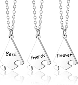 Jovivi Collana dell'amicizia per 3/4/5 BFF ciondolo puzzle Best Friends Forever and Ever collana per sorelle, amici
