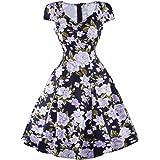 فستان نسائي من Samtree طراز الخمسينيات بأكمام قصيرة كلاسيكي بنمط الزهور البولكا المنقطة