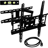 Mount-It! Articulating TV Wall Mount Corner Bracket, VESA 400 x 400 Compatible, Stable Dual Arm Full Motion, Swivel, Tilt Fit