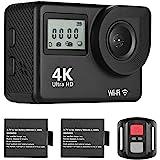 4K Ultra HD WiFi Sports Action Camera 18MP 170¡ã Wide Angle 2.0 Inch LCD Screen 30 Meters Waterproof with 2pcs Li-ion Batteri