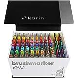 KARIN Mega Box Plus – 72 colores + 3 Blender, BrushMarker Pro – Brushpen a base de agua adecuado para pintar, dibujar y escri