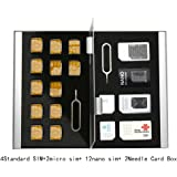 Myymee 4 Étui Carte SIM Standard + 2 étui Carte Micro Sim + 12 étuis Carte Nano Sim, Alliage d'aluminium Carte mémoire SD téléphone Portable