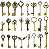 24 pièces grandes clés squelette en bronze antique clé rustique pour la décoration de mariage faveur, collier pendentifs