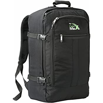 Cabin Max Backpack Flight Approved Carry On Bag Massive 44 litre Travel Hand Luggage 55x40x20 cm - Metz Black