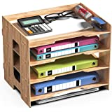 JOPOO Office File Tray, A4 Desk Tidy Organiser, 4 Tier Document/Paper/Letter Tray