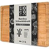 Loco Bird planche à découper en bambou massif avec rainure à jus - planche à découper bois de 44,8x30x2 cm - planche en bois