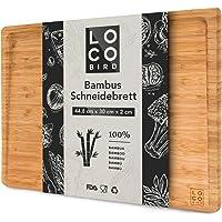 Loco Bird planche à découper en bambou massif avec rainure à jus - planche à découper bois de 44,8x30x2 cm - planche en…