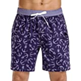 unitop Men's Board Shorts Water Sports Quick Dry Printed Beach Trunks