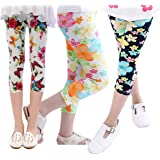 Girls Leggings 3 Pcs Childrens Kids Floral Pattern Stretchy Tights Pants 4-13 Years