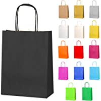 Thepaperbagstore 10 Small Paper Party Bags, Gift and Sweet Bags with Twist Handles - Black - 180x220x80mm