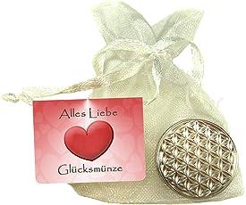 EnerChrom Blume des Lebens-Glücksmünze als Glücksbringer - Metall-Farbe: Silber - Lebensblume-Talisman Verpackt als Geschenk im Organzasäckchen