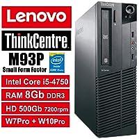PC Lenovo ThinkCentre M93P SFF - Core i5-4570, RAM 8Gb, HDD 500Gb 7200rpm, DVDRW, Windows 7 Pro + Windows 10 Pro UpGrade (Ricondizionato) (M93P 8Gb)