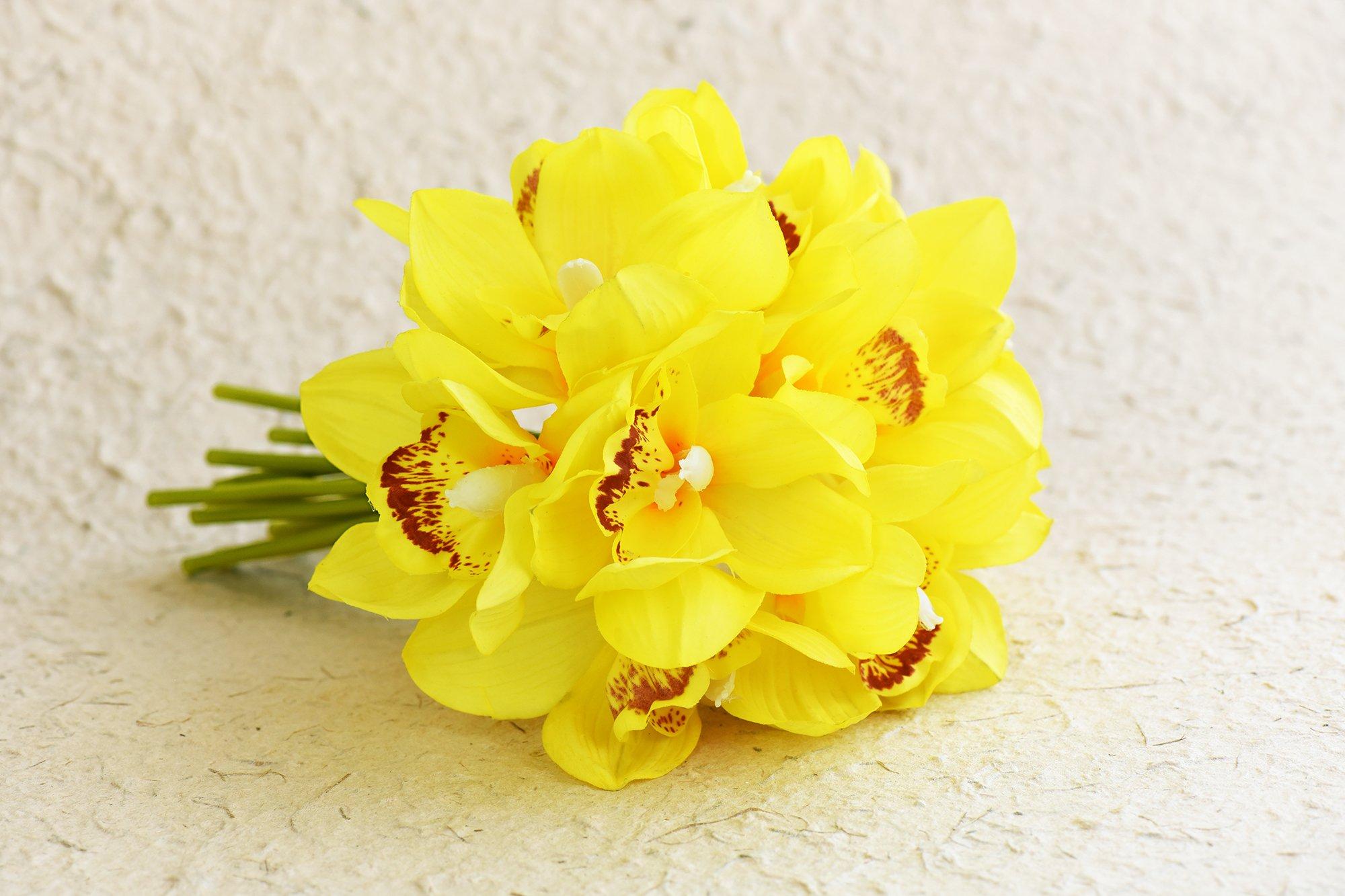 FiveSeasonStuff 12 Tallos de Real Toque Cymbidium Artificial/Barco Orquídeas Flores y Ramo, para Tienda Casa Decoración Restaurante Fiesta Oficina/Arreglos Florales DIY – 23cm (9.1 Inches), Púrpura