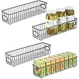 mDesign panier de rangement en métal (lot de 4) – boîte en métal flexible pour la cuisine, le garde-manger, etc. – panier en
